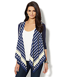 Mixed-Fabric Flyaway Cardigan - Linear Print  - New York & Company