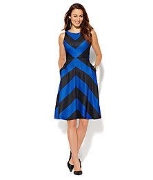 Scuba Flare Dress - Chevron Stripe  - New York & Company