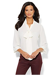 7th Avenue Bow-Front Blouse