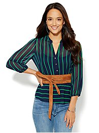 7th Avenue Design Studio - Peplum Blouse - Stripe