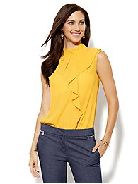 7th Avenue Design Studio - Ruffled Mock-Neck Blouse