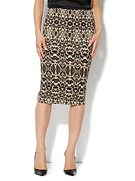 7th Avenue Suiting Collection - Scuba Midi Skirt - Leopard