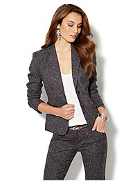 7th Avenue Suiting Collection Tweed Jacket - Black