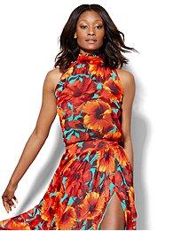 7th-avenue-design-studio-chiffon-halter-blouse-floral-