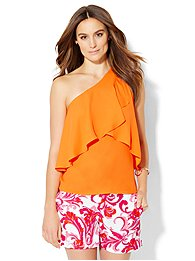 7th-avenue-design-studio-flounced-one-shoulder-top-