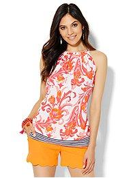 7th-avenue-design-studio-ruffled-halter-blouse-print-