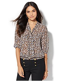 7th-avenue-design-studio-tie-front-blouse-floral-