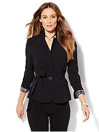 7th avenue design studio - tie-waist jacket - signature fit - double stretch - petite