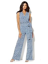 Abstract-Print Wrap Jumpsuit