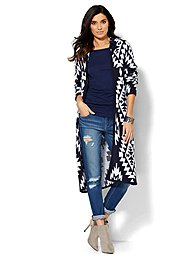 Aztec-Print Hooded Cardigan