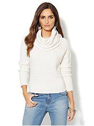 Basket Weave Cowl-Neck Sweater