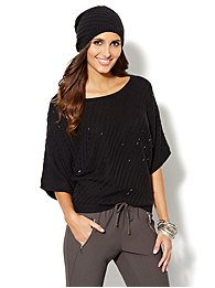 Beaded Diagonal-Stitch Kimono-Sleeve Sweater