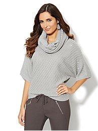 Beaded Diagonal-Stitch Kimono-Sleeve Sweater