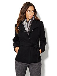 Belted Seamed Wool-Blend Coat