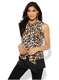 Bow-Front Sleeveless Blouse - Leopard