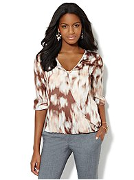 Brushstroke-Print Wrap Blouse
