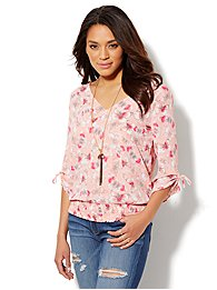 Butterfly-Print Lattice-Detail Blouse