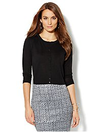 Button-Front Crop Sweater
