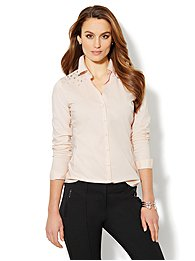 Button-Front Stretch Shirt - Rhinestone Accent