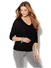 Cable-Knit Dolman-Sleeve Sweater
