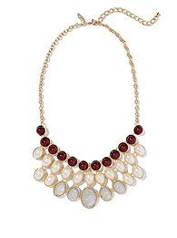 Cabochons & Faux-Pearl Beads Bib Necklace