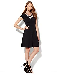 Cap-Sleeve Flare Dress