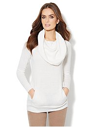Cashmere Touch - Convertible Cowl-Neck Tunic Sweater