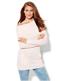 Cashmere Touch Cowl-Neck Tunic Sweater