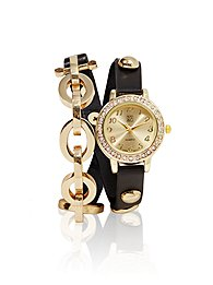 Chain & Faux-Leather Double-Wrap Watch