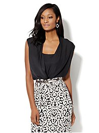 Charmeuse Faux-Wrap Sleeveless Blouse