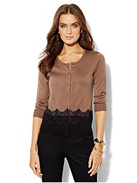 Chelsea Lace-Trim 3/4-Sleeve Cardigan