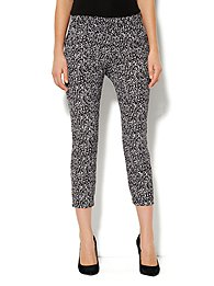 City Crepe - Slim Crop Soft Pant - Marbled Print