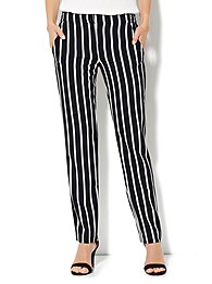 City Crepe - Slim Leg Soft Trouser Pant - Stripe