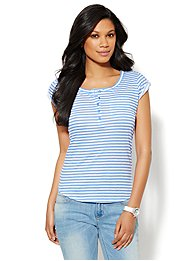 Cotton Henley Tee - Stripe