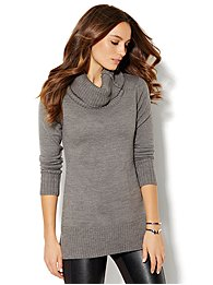 Cowl-Neck Tunic Sweater - Solid