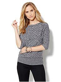Dolman-Sleeve Marled Sweater