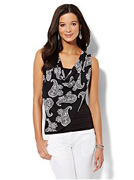 Draped Mixed-Fabric Top - Printed - Petite
