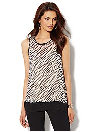Envelope-Back Top - Zebra Print