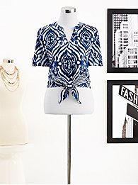 Eva Mendes Collection - Allison Tie-Front Shirt - Printed