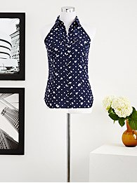 Eva Mendes Collection - Hannah Halter Top - Polka-Dot Rose Print