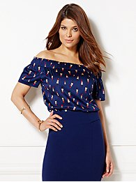 Eva Mendes Collection - Inez Off-The-Shoulder Blouse - Lipstick Print