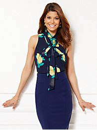 Eva Mendes Collection - Tess Sleeveless Bow Blouse - Lemon Print