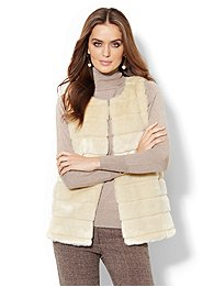 Faux-Fur Seamed Vest