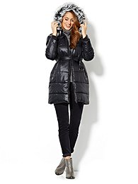 Faux-Fur Trim Long Puffer Coat