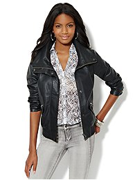 Faux-Leather Bomber Jacket