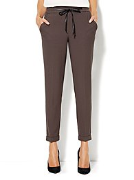 Faux-Leather Drawstring Soft Track Pant