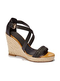 Faux-Leather Espadrille Wedge