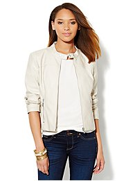 Faux-Leather Quilted Jacket