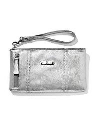 Faux-Leather Side-Zip Wristlet