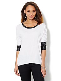 Faux-Leather Trim 3/4-Sleeve Tee